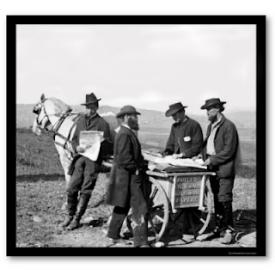 Men meeting over a horse and cart.