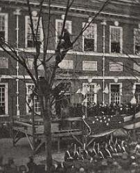 This image captures the communal funeral procession for Lincoln at Independence Hall
